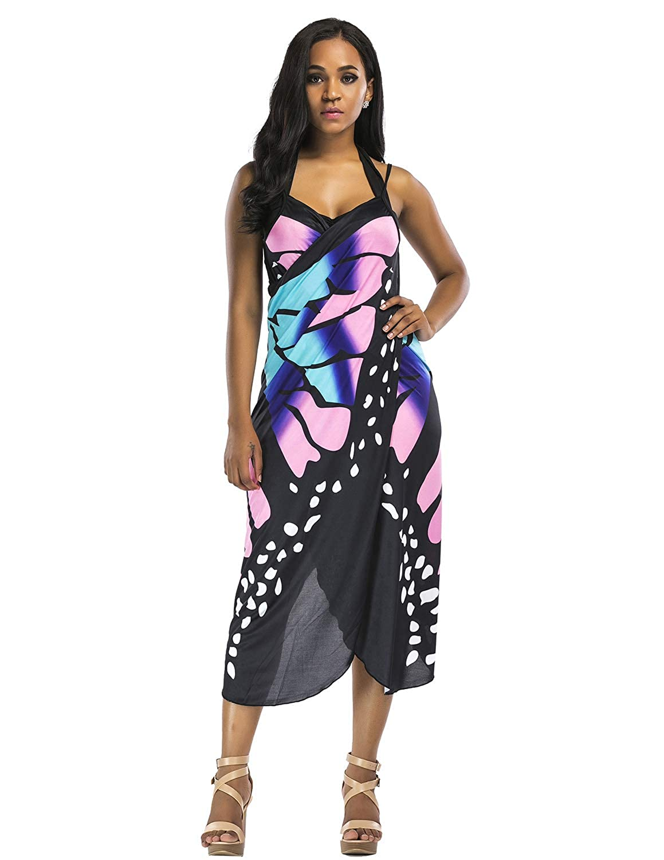 PIPIHU Mujer T/única Pareo con Cuello en V Beach Bikini Cover Up Vestido de Playa Verano
