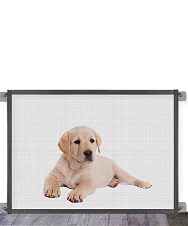 Portable Folding Mesh Magic Gate Baby Safety Gates Install Anywhere Black Magic Gate for Dogs,Queenii Pet Safety Guard Gate Safety Fence for Hall Doorway Wide 41.01