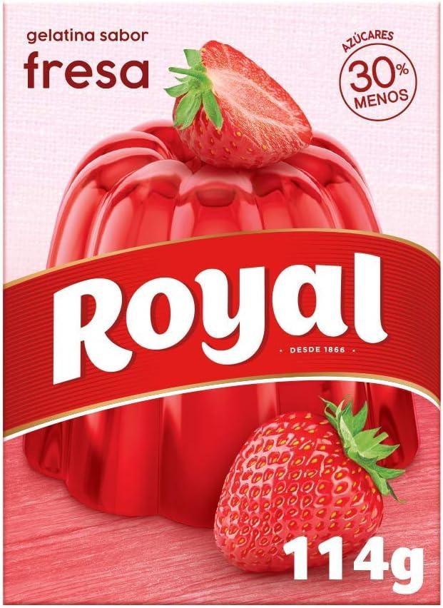 Royal Gelatina en Polvo Sabor Fresa con Vitamina C, 30% Menos Azúcares - 10 Raciones, 114 g