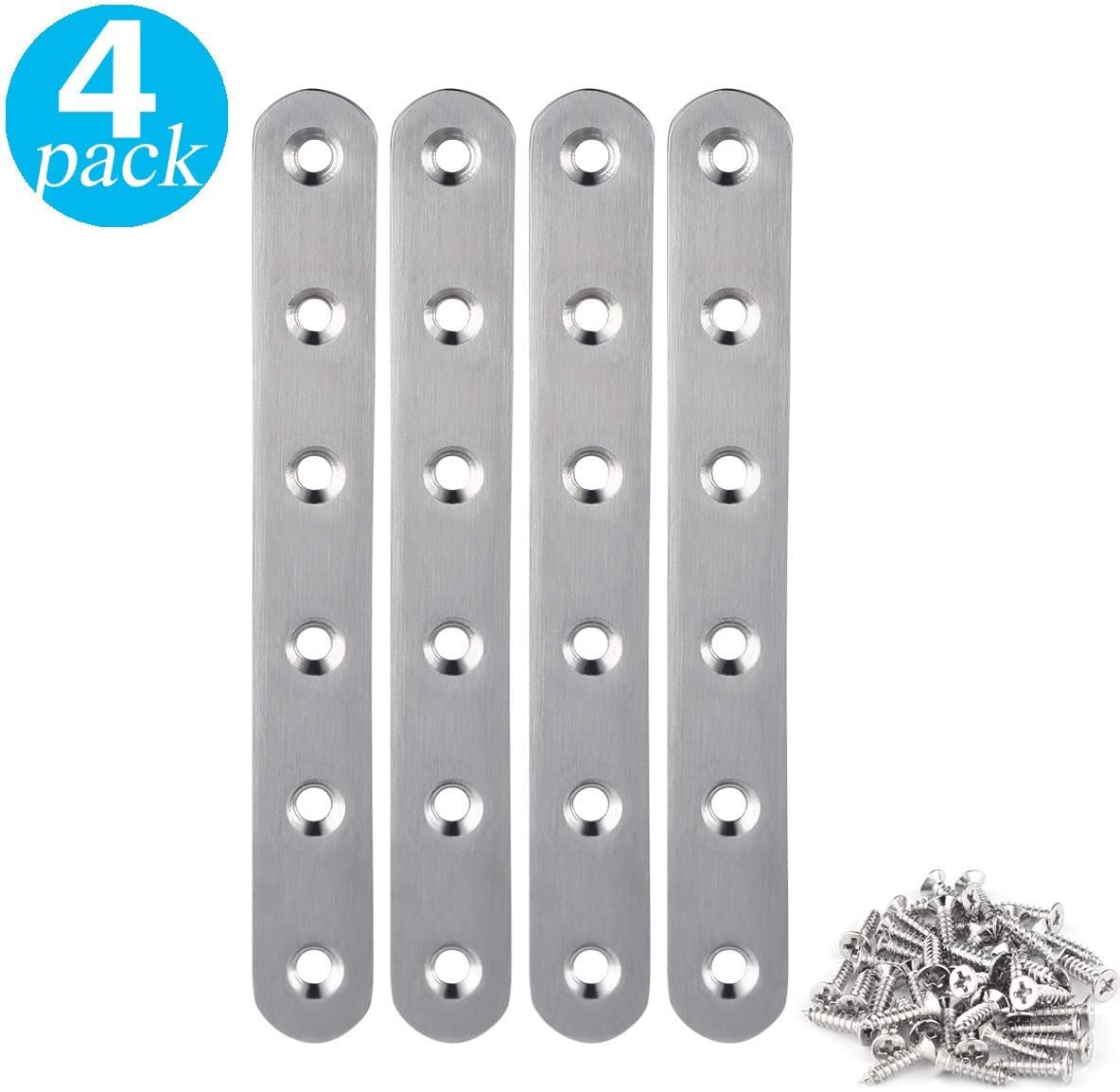 4 Pieces Stainless Steel Straight Brace (6.2 x 0.8 inch,20 x 158 mm) Flat Straight Braces, Straight Brackets, 24 Pieces Screws Included