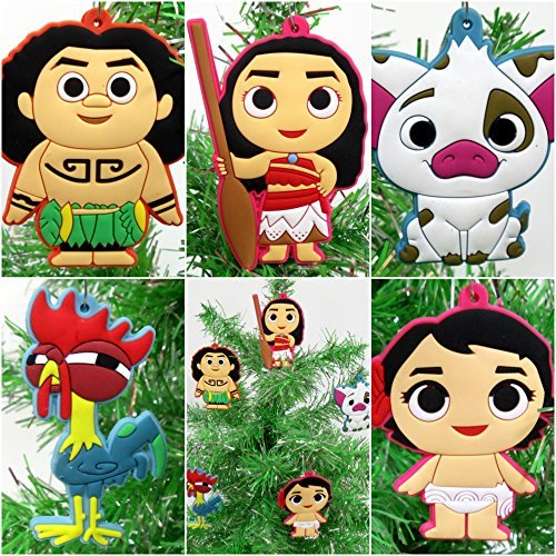 Moana 5 Piece Christmas Tree Ornament Set Featuring Moana, Hei Hei, Maui and Friends ()