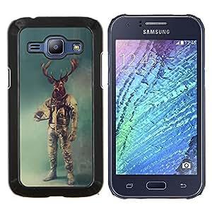 TECHCASE---Cubierta de la caja de protección para la piel dura ** Samsung Galaxy J1 J100 ** --Retro ciervos Astronauta
