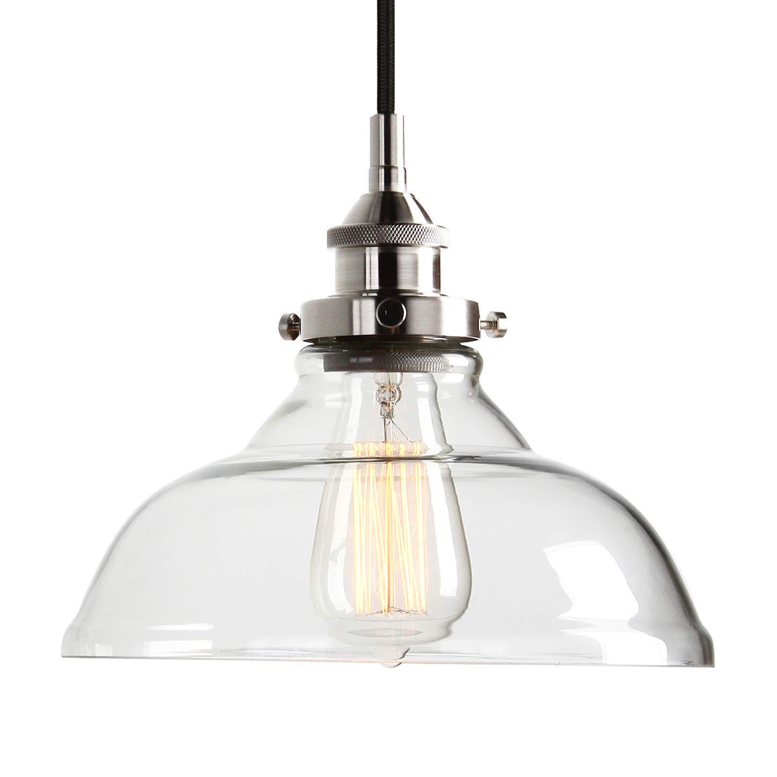 Pathson Hanging Lamp, Industrial Kitchen Island Pendant Light with Clear Glass Shade and Brushed Antique Socket, Adjustable Hanging Height 1-Light Ceiling Fixture (Brushed Silver)