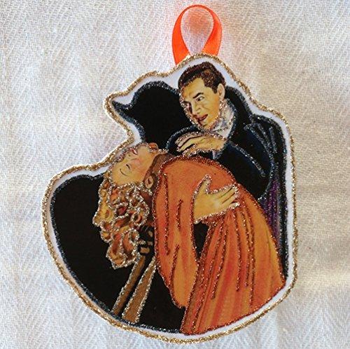 Vampire~Vintage Halloween~ Glittered Wooden Ornament~Horror Movie~Handmade (Handmade Halloween Decorations)