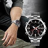 eYotto Waterproof Men's Stainless Steel Date Alarm Digital Analog Dual Time Military Wrist Quartz Watch