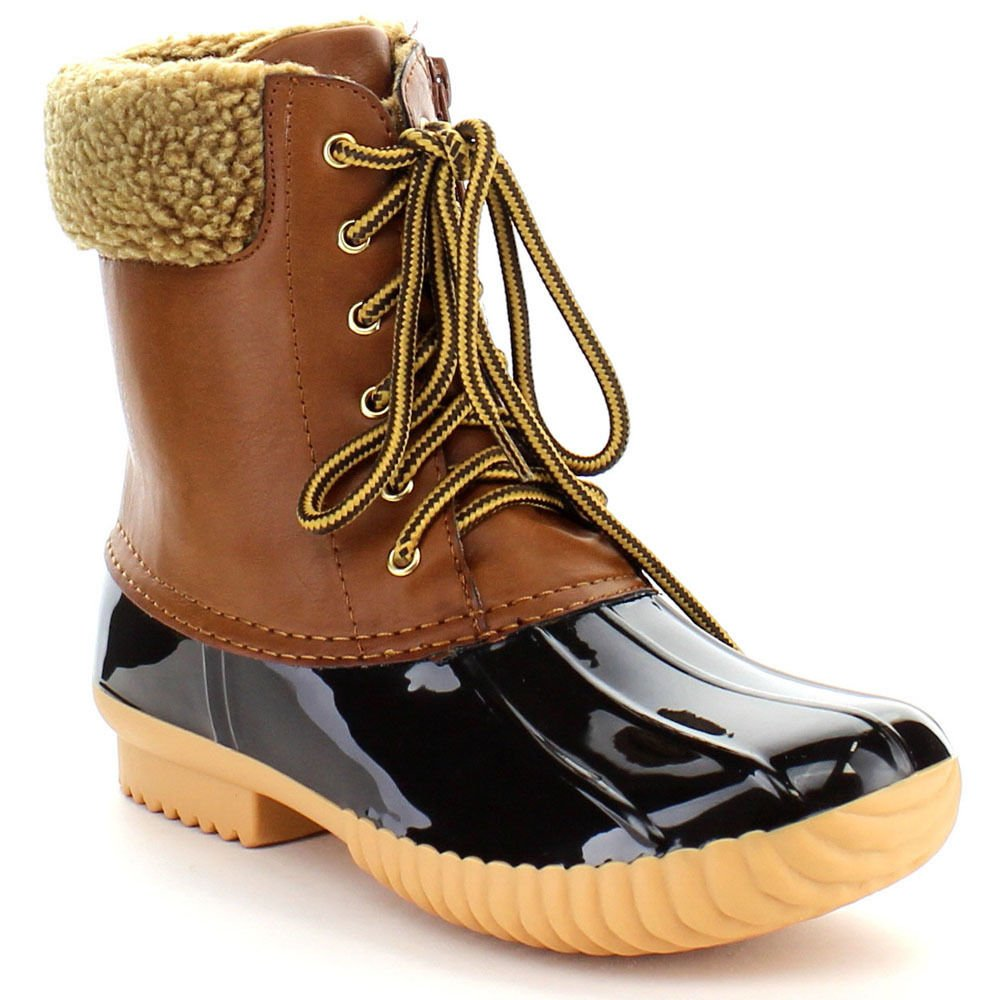 Tan-2 Women's Waterproof Rain Booties Duck Padded Mud Rubber Snow Faux Fur Lace Up Ankle Boots