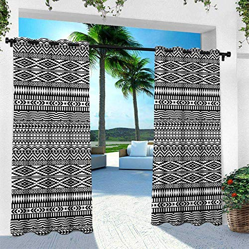 - Afghan, Outdoor Patio Curtains Waterproof with Grommets,Traditional Monochrome Herringbone Zigzag Stripes and Rhombuses Tribal Design, W120 x L108 Inch, Black and White