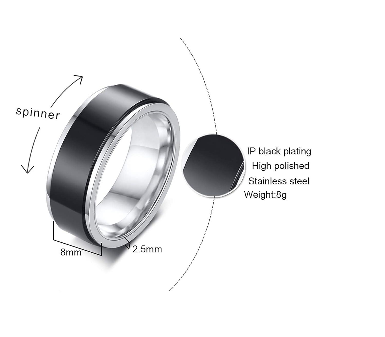 EoCot Stainless Steel Rings for Women Wedding Band Black Rotatable