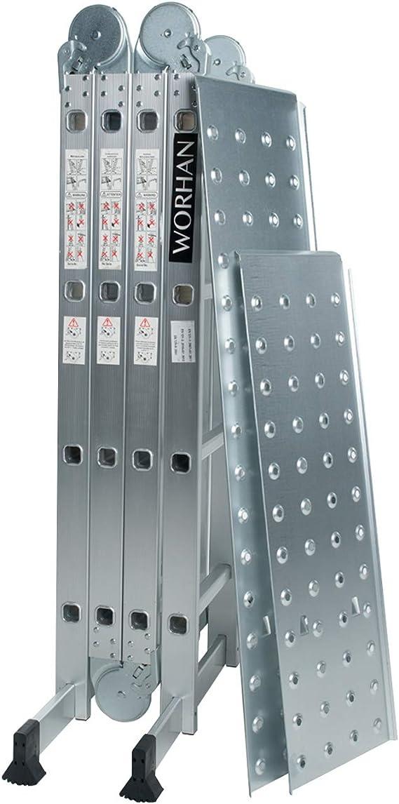 WORHAN® 4.6m Escalera Multiuso con 2 Plataformas de Acero Multifuncional Plegable Tijera Aluminio 2 Estabilizadores Bisagra Grande Nueva Generación Calidad Alta KS4.6+platforms: Amazon.es: Bricolaje y herramientas