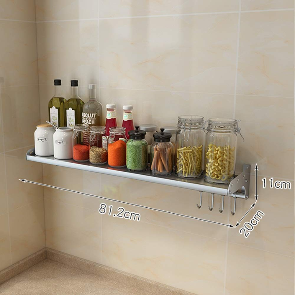 HUO 304 Stainless Steel Kitchen Rack Wall-Mounted Seasoning Microwave Oven Rack - Multi-Size Optional (Color : 20cm, Size : 81.2cm)
