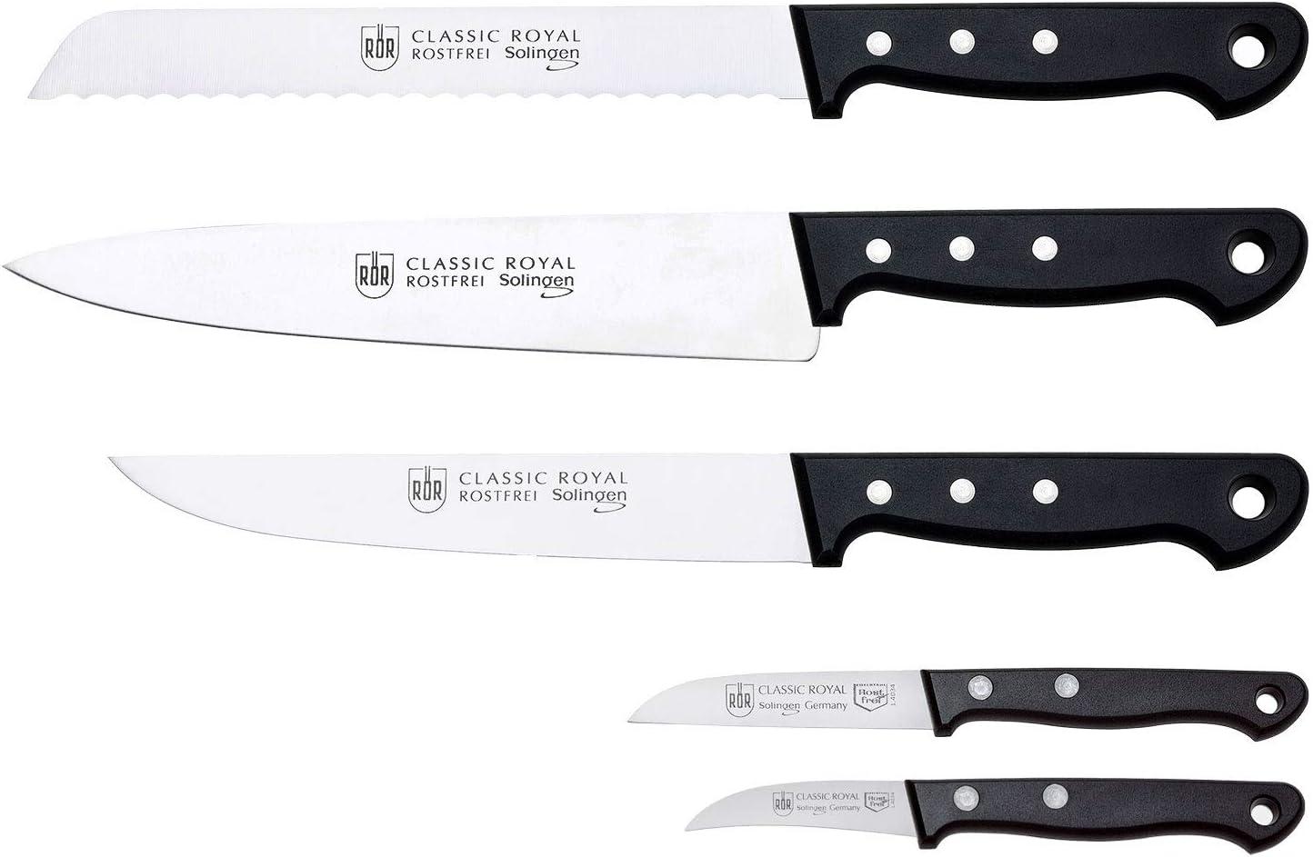 R/ÖR Messerset Classic Royal Made in Solingen 5-teilig hochw Messerstahl Griff mit Nieten