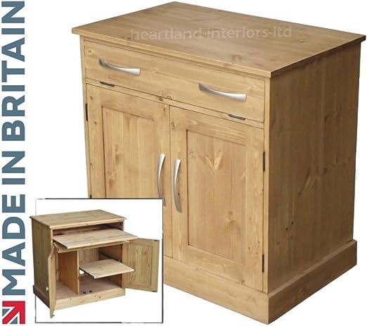 Madera de pino maciza escritorio, hecha a mano y encerado ...