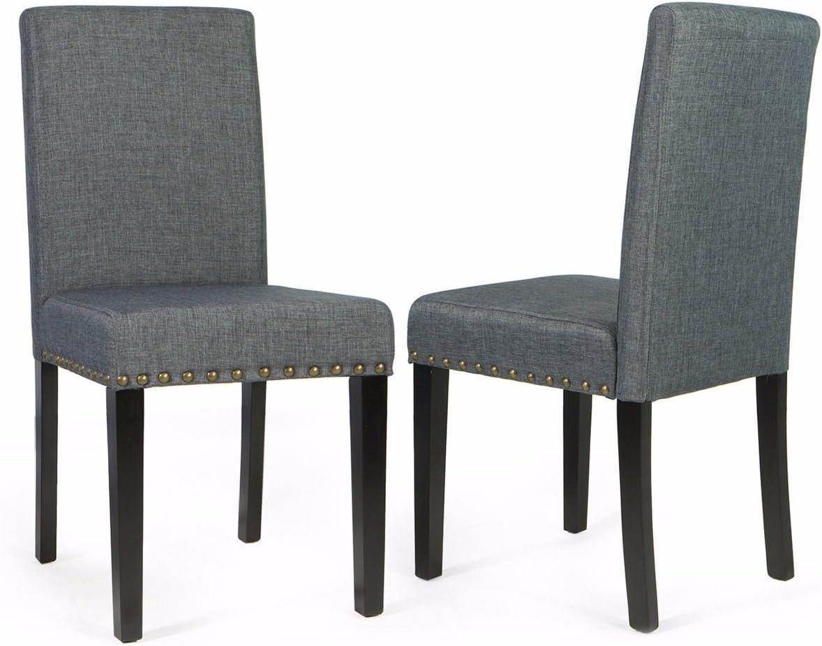 AK Energy Pair of Gray Sleek Elegant Parson Modern Nailhead Trim Conference Chairs Barton Office Furniture