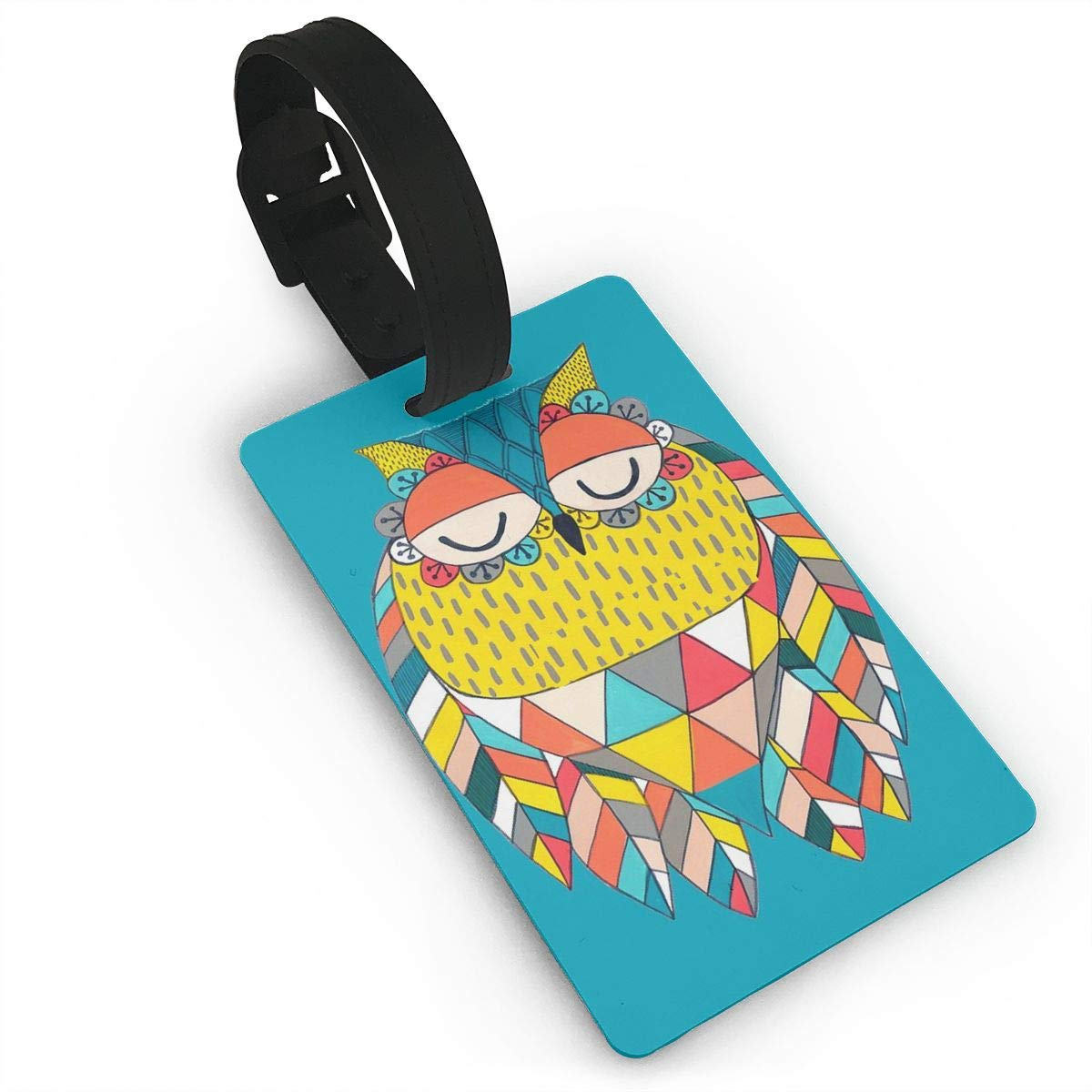 Aztec Owl Illustration Luggage Tags Suitcase Labels Bag Travel Accessories Set of 2