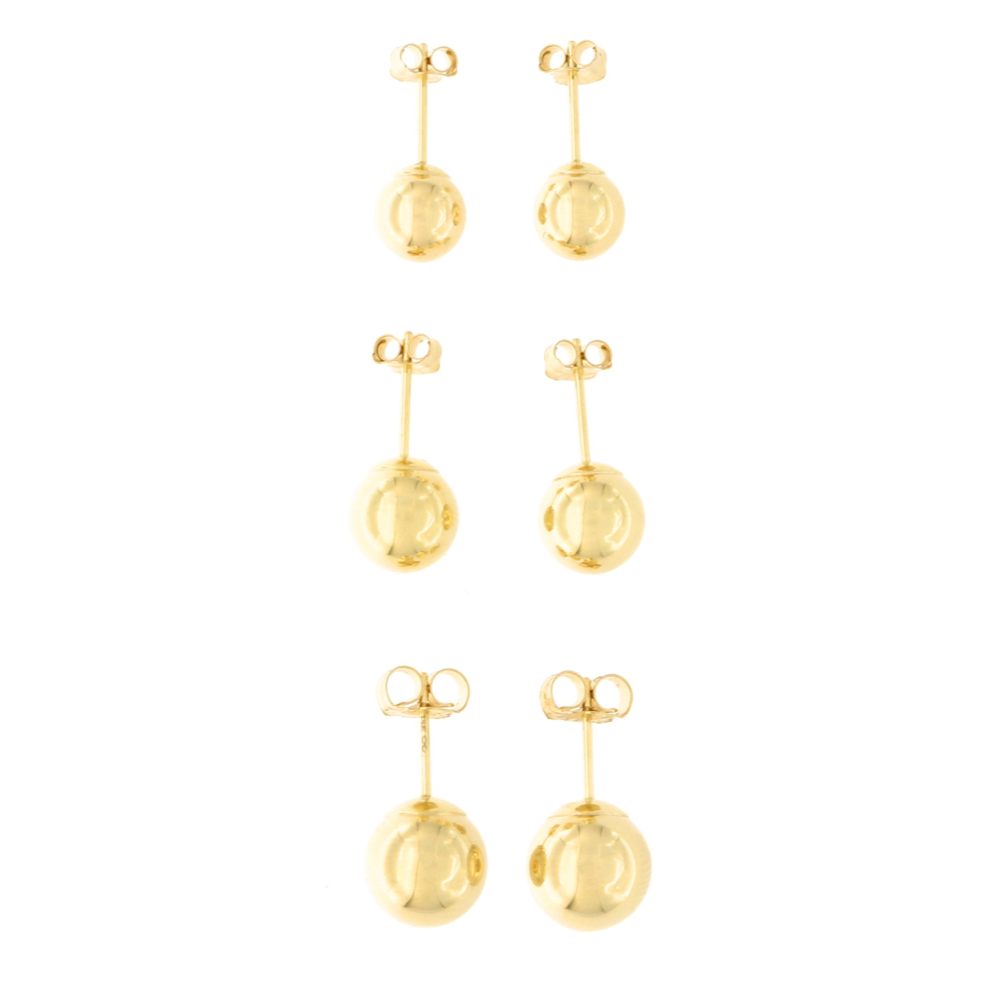 14k Yellow Gold 6mm, 7mm and 8mm Ball Stud Earrings Set