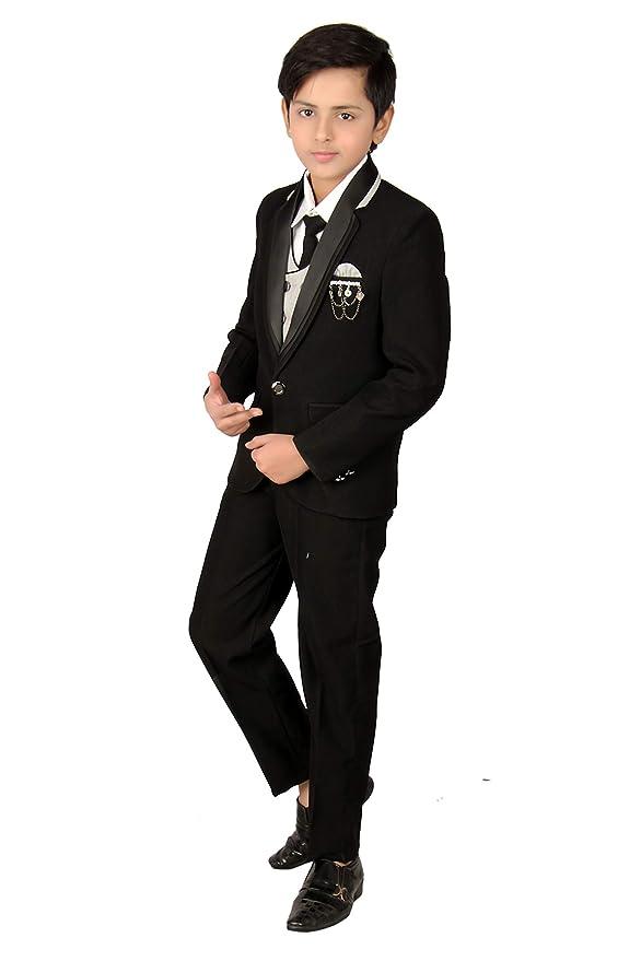 Fourfolds 5 Piezas Traje de Abrigo Negro con Camisa de pantalón ...