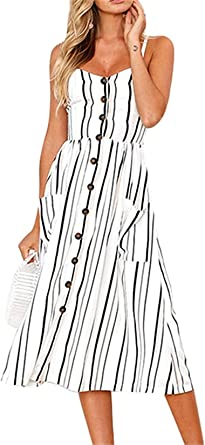 Women Summer Casual Dresses Floral Swing Midi Beach Dresses Striped Strap