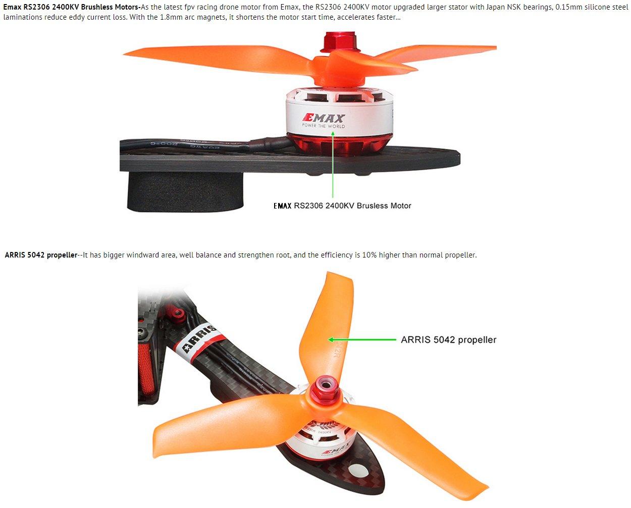 Runcam Swift 2 FPV Camera Professional Version ARRIS X220 220mm V2 Racing Drone FPV RC Quadcopter ARF w//EMAX RS2306 Motor