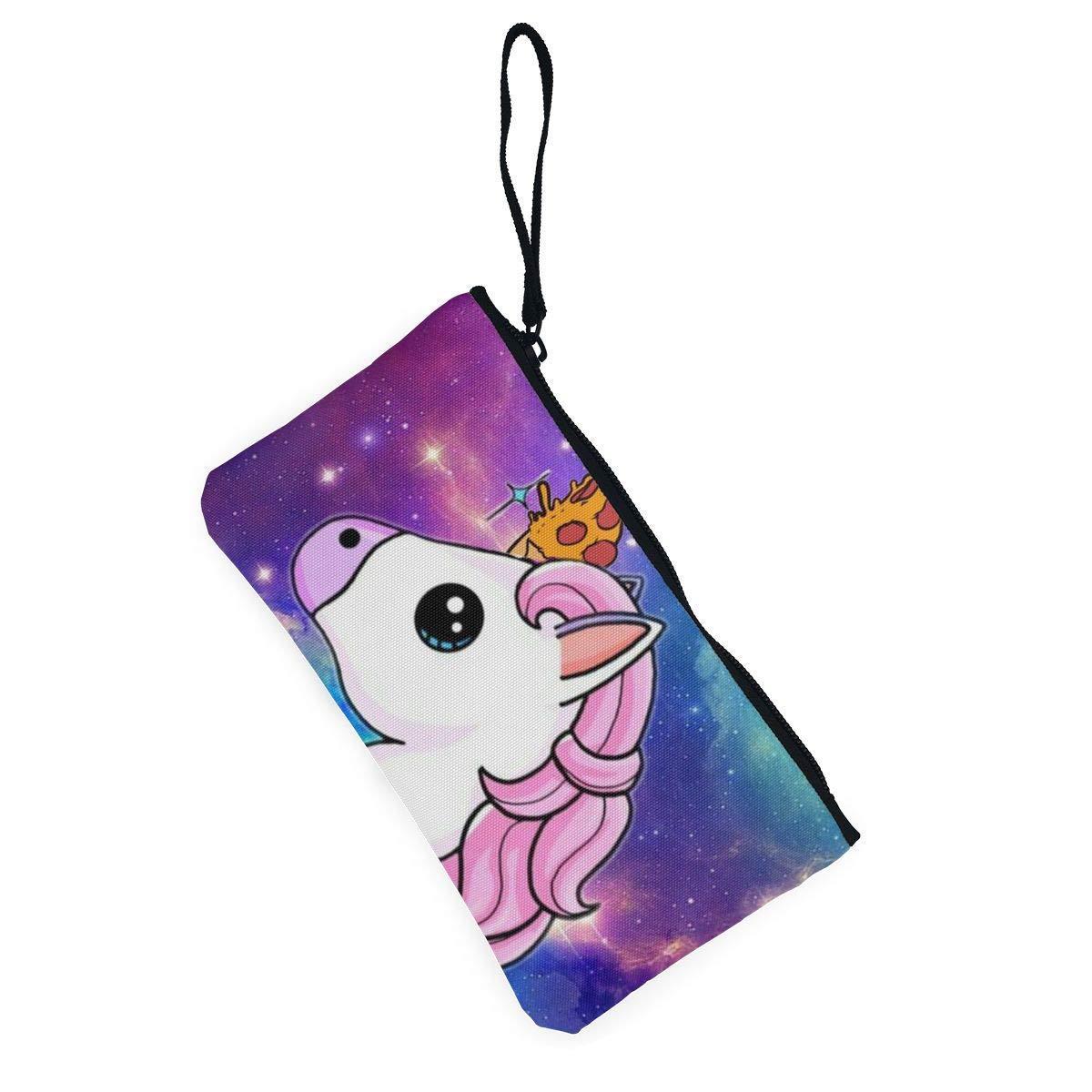 Coin Purse Galaxy Unicorn Rainbow Girl Fastener Canvas Purse Wallet TravelHot Bag
