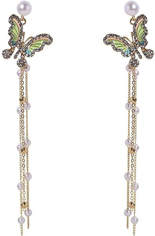 2020 Pendientes de borla de perlas de imitación estilo coreano retro de moda Brincos largos pendientes de alas joyería-1-blanco