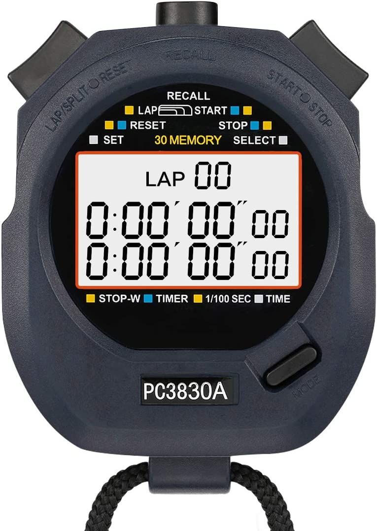 LEAP Stopwatch Professional Timer 3 RAW 10/30/100 Lap Split Memory with Digital Extra Large Screen for Stopwatches Sports Game Timer Count up Down ...