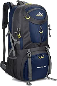 Hiking Backpack Nylon Waterproof Large Capacity Daypack for Outdoor Sports Travel Fishing Cycling Skiing Climbing Camping Mountaineering 60L (Dark Blue-60L)