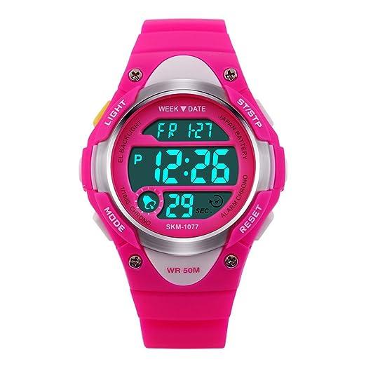 Reloj digital de los deportes LED niño Lovely Girl goma de la correa del reloj a