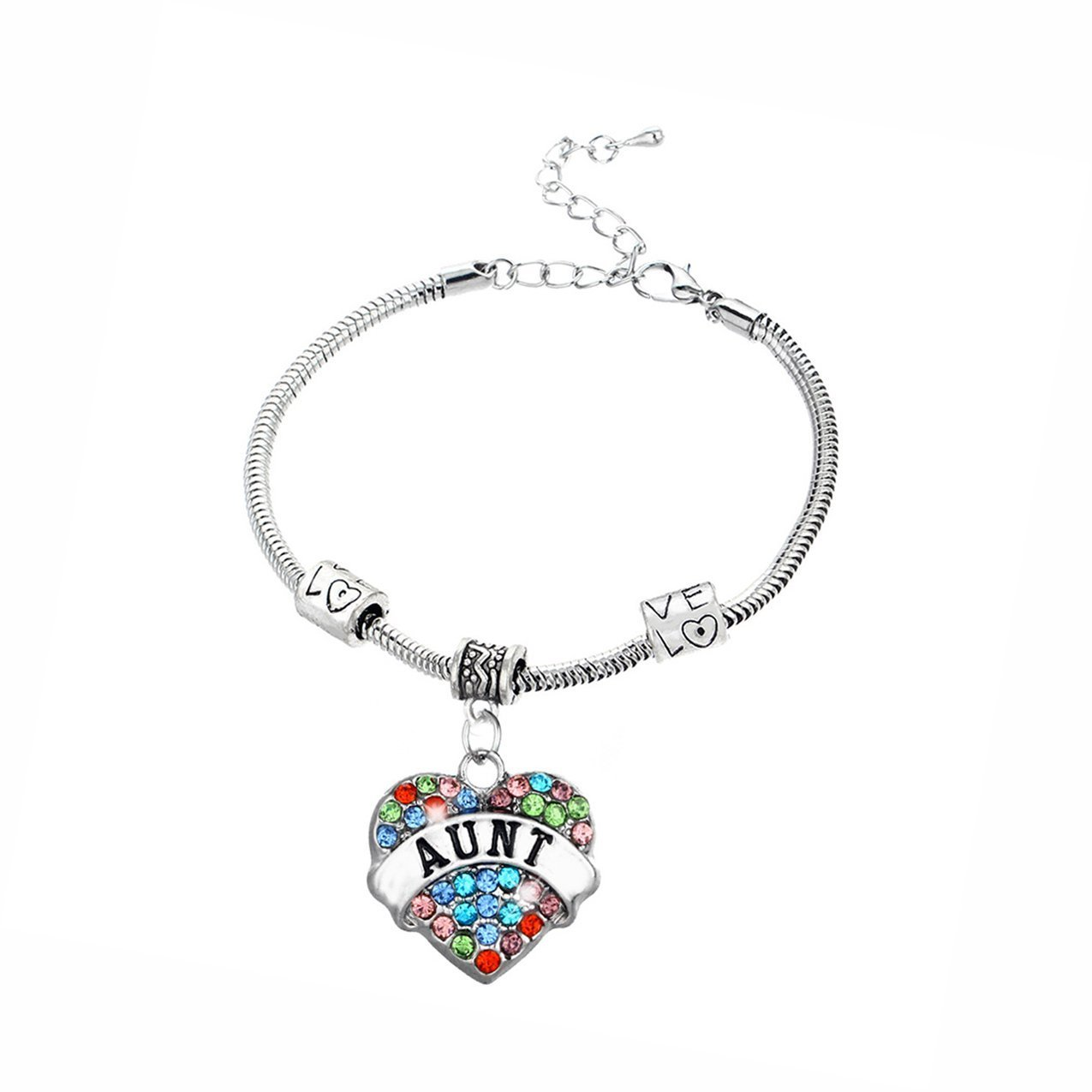 JiangYan-US Snake Chain Adorable Multi-Color Crystal Heart Charms Bracelets Best Family Jewelry Gift