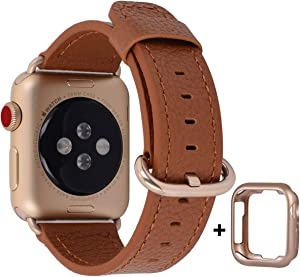 JSGJMY Leather Band Compatible with Apple Watch 38mm 40mm 42mm 44mm Women Men Strap for iWatch SE Series 6 5 4 3 2 1(Light Brown with Champagne Gold Clasp, 38mm/40mm S/M)