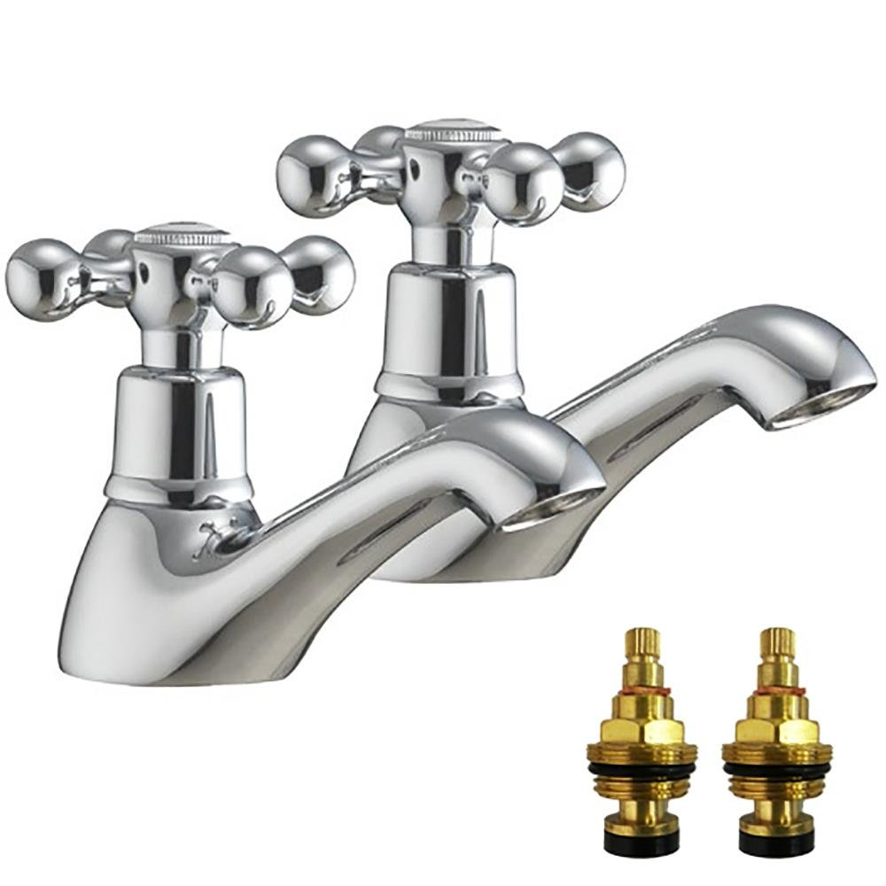 Hot And Cold Traditional Victorian Basin Taps With Replacement ...