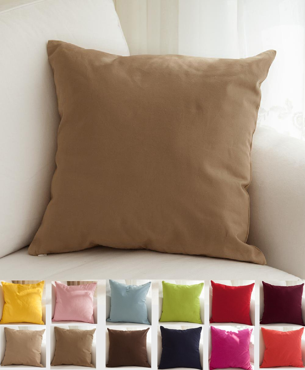 TangDepot Cotton Solid Throw Pillow Covers, 16'' x 16'' , Light Coffee
