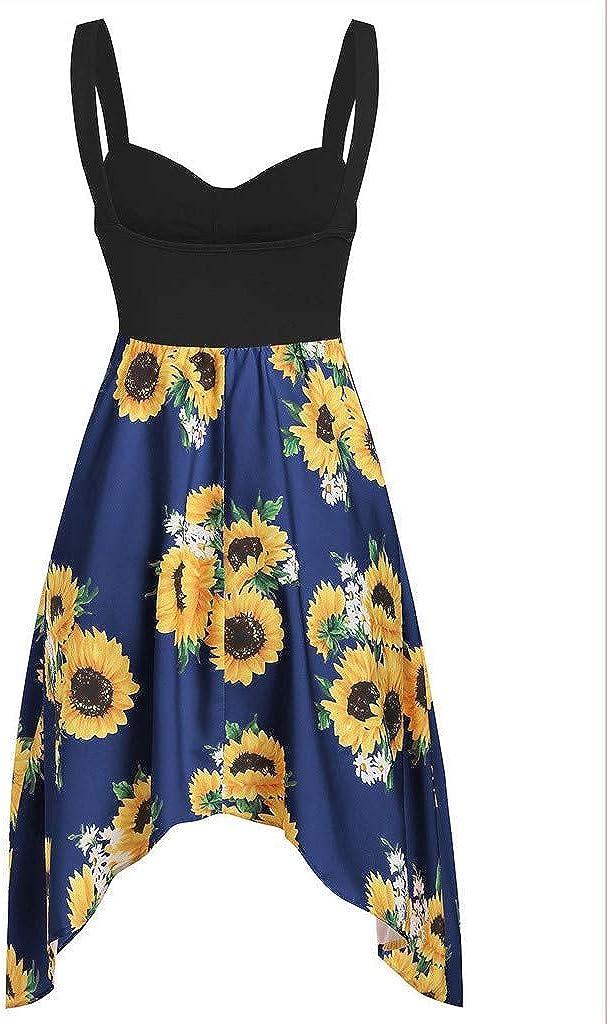 Women Dresses ESAILQ Sunflower Printed V-Neck Camis Backless Sleeveless Dress Party Beach Dress Tank Mini Dress