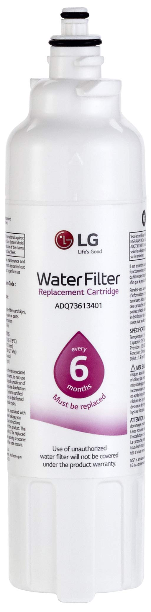 LG LT800P Refrigerator Water Filter, Filters up to 200 Gallons of Water, Compatible with Select LG French Door and Side-by-Side Refrigerators with SlimSpace Plus Ice System by LG