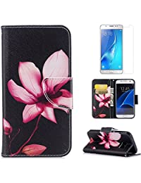 For Samsung Galaxy S7 Case,OYIME [Colorful Painting] Elegant Pattern Design Bookstyle Leather Wallet Case with Screen Protector Kickstand Card Slots Function Holster Full Body Protection Bumper Magnetic Closure Flip Cover with Wrist Lanyard - Pink Lotus
