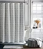 Tommy Hilfiger Fabric Shower Curtain Gray Diamond Pattern on Cream Background -- Diamond Lake