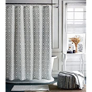 Tommy Hilfiger Fabric Shower Curtain Gray Diamond Pattern On Cream Background Lake