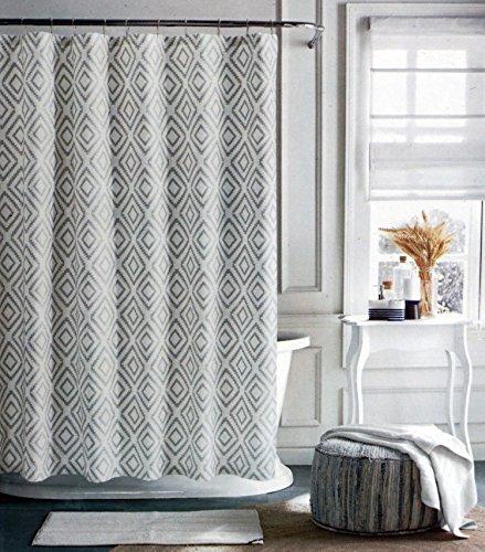 Tommy Hilfiger Fabric Shower Curtain Gray Diamond Pattern on Cream Background - Diamond Lake