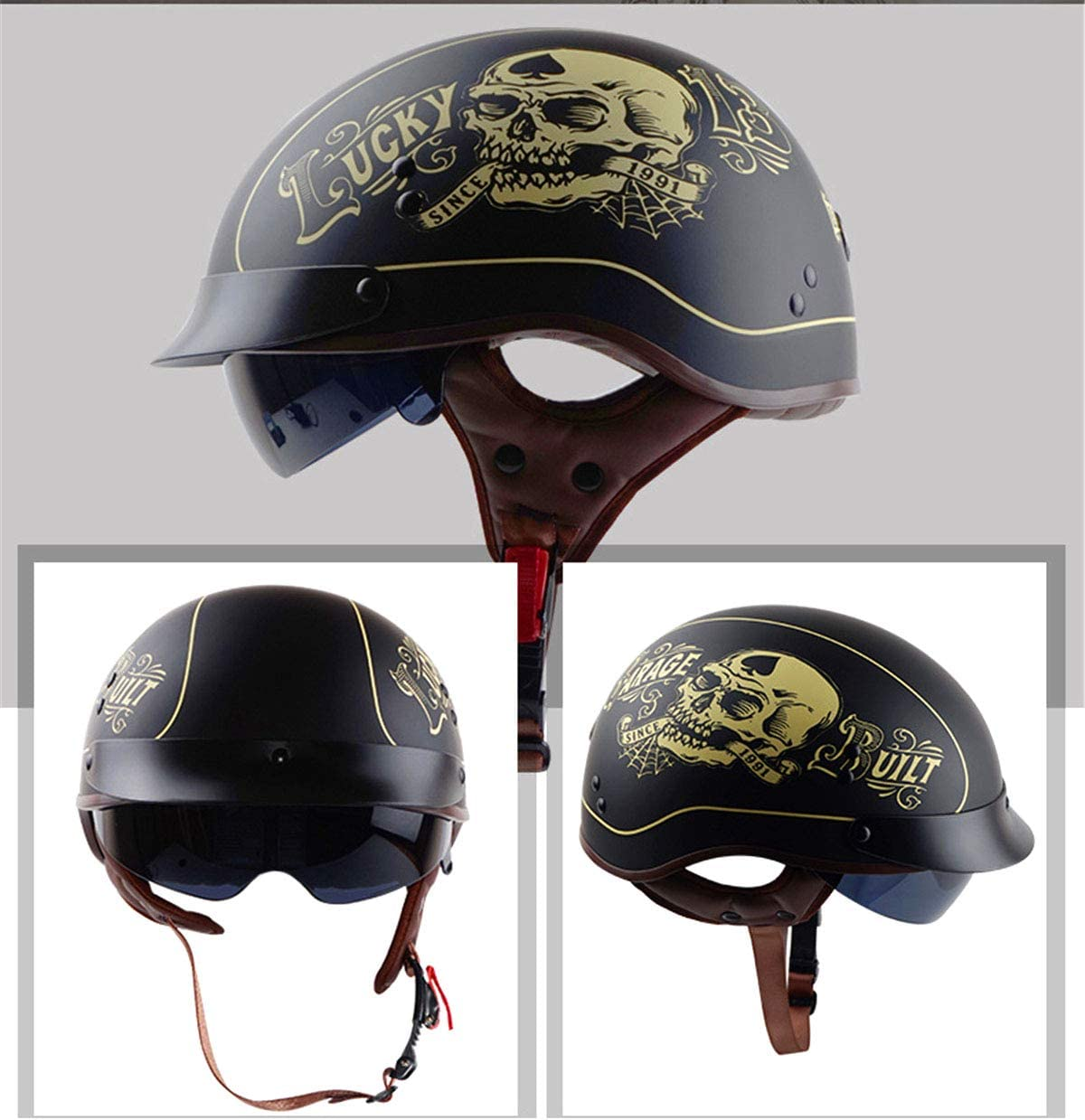 DOT Zertifizierung,M57~58cm YXNB/® Brain-Cap /· Halbschale Jet-Helm Motorrad-Helm Matt Black Motorrad Half Helm mit Drop Visier f/ür Cruiser Chopper Biker Lucky Skull