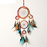 Dreamcatcher Native Indian Style Caught Dream Gifts Turquoise Beaded Wind Chimes Feather Pendants Wall Hanging Decorations 5-cicle