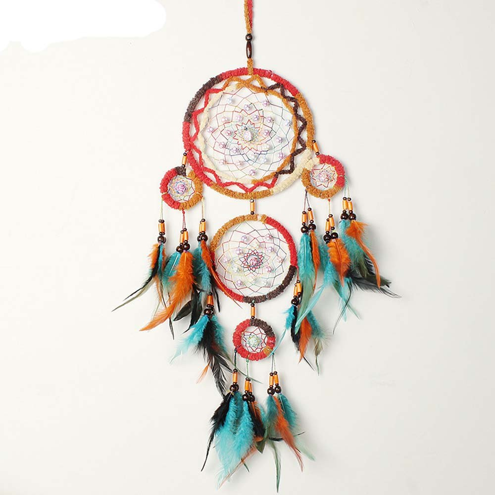 Dreamcatcher Native Indian Style Caught Dream Gifts Turquoise Beaded Wind Chimes Feather Pendants Wall Hanging Decorations 5-cicle (58cm rainbow)