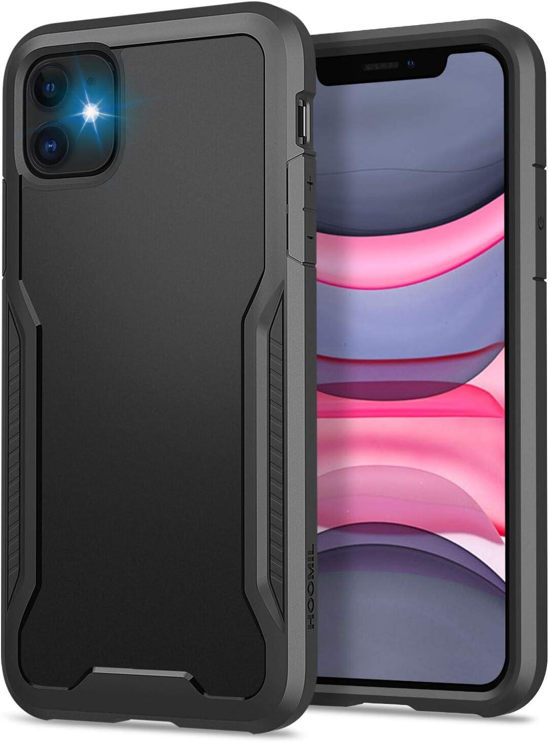 HOOMIL Cover per iPhone 11, Anticaduta Antiurto Custodia per iPhone 11 Cover (6.1 Pollici), Caso Protettiva in Silicone TPU Bumper Case (Nero)