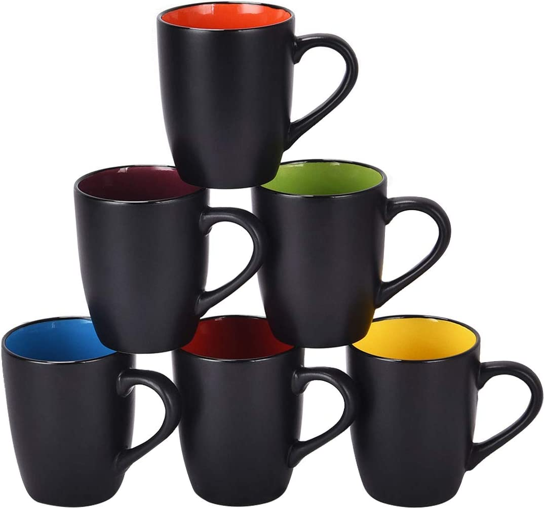 Set of 6 Coffee Mug Sets, 16 Ounce Ceramic Coffee Mugs Restaurant Coffee Mug, Large-sized Black Coffee Mugs Set Perfect for Coffee, Cappuccino