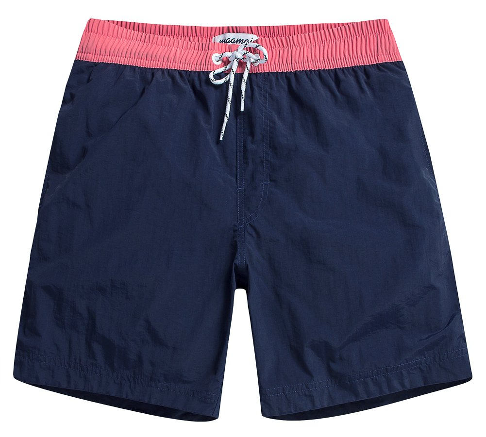 MaaMgic Mens Quick Dry Solid Swim Trunks with Mesh Lining Swimwear Bathing Suits,Navy-glm007,Medium