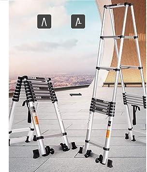 FJX Escalera telescópica Escaleras elevadoras multifunción Escalera de ingeniería, Escaleras plegables con ruedas Escalera extensible de aluminio para el hogar,2.6m: Amazon.es: Bricolaje y herramientas