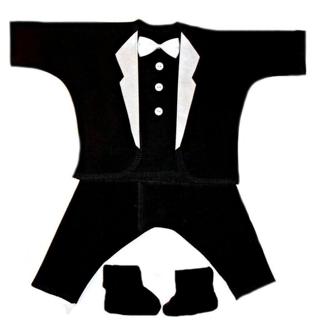 Jacquis Baby Boys Black with White Lapels Tuxedo Suit 4 Piece Set