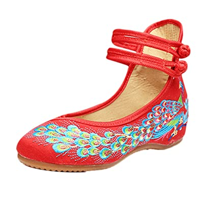 Zhhlaixing 3 Colors Beautiful Womens Casual Cloth Shoes Classical Embroidered Shoes