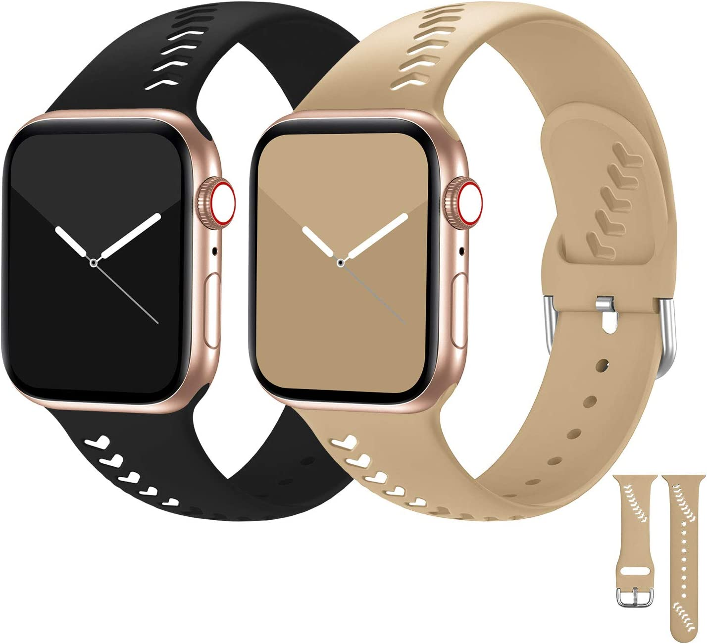 Seizehe Compatible for Apple Watch Bands 38mm 40mm Series 5 Series 6 Women Men, Soft Silicone Breathable iWatch Bands 38mm 40mm Compatible for Apple Watch SE Series 6/5/4/3/2/1