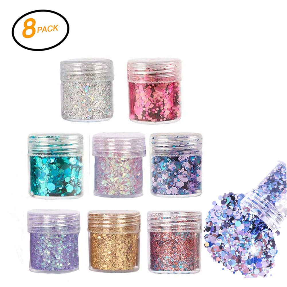 Chunky Glitter, Sunblue Chunky Face Glitter Hexagonal Shiny Cosmetic Sequins Sparkling Sticker Decoration For Body Face Nail Hair Festival Christmas Party Gift 8 Colors