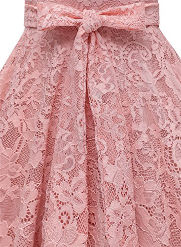 Damen aus Knielang Cape Brautjungfernkleid Spitzen Vintage Cocktail Kleid Blush Stil MUADRESS dxgwqBd