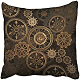 Throw Pillow Cover Square 18x18 Inches Steampunk Steam Punk Gears Clock Abstract Gold Technology Vintage Bronze Century Polyester Decor Hidden Zipper Print On Pillowcases